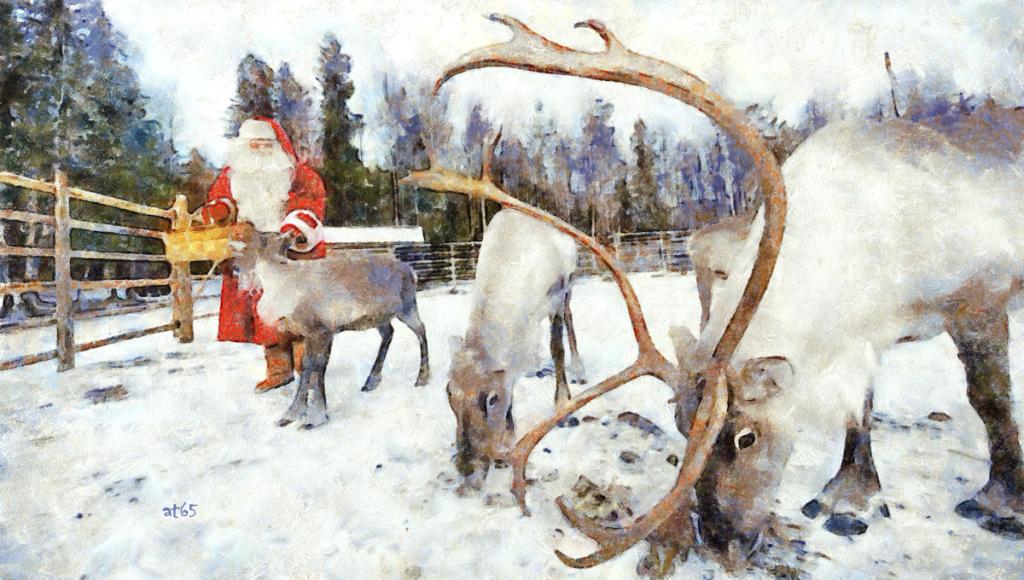 Santa Claus and his reindeers