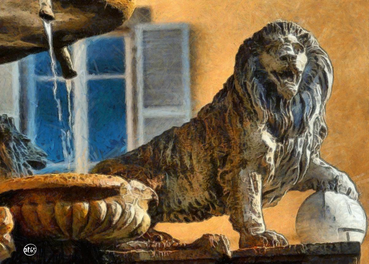 """Lion, Fountain of """"Dell'Erba"""" Square, Viterbo"""