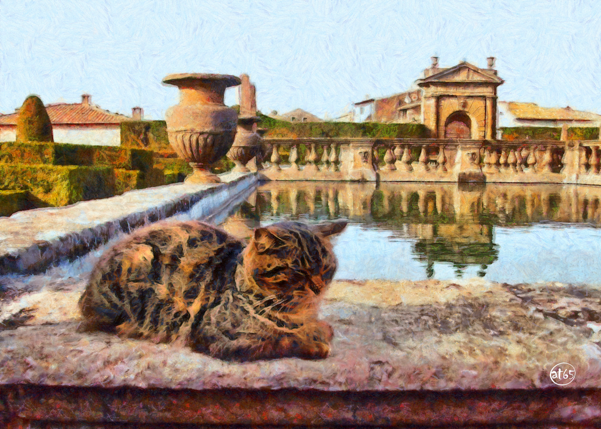 Villa Lante (Bagnaia, Viterbo) with a Cat